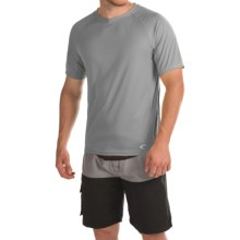 Teal Cove Side Panel Rash Guard - UPF 20+, Short Sleeve (For Men) in Slate/Black - Closeouts