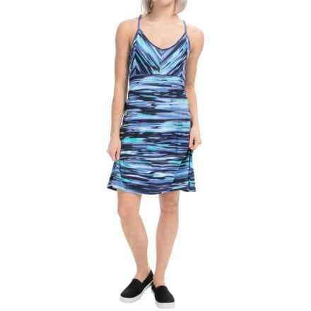 Tehama V-Neck Slider Dress - Racerback, Sleeveless (For Women) in Watercolor Sunset Stripe Blue - Closeouts