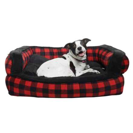 "Telluride Buffalo Plaid Bolster Dog Bed - 36x27"" in Red/Black - Closeouts"