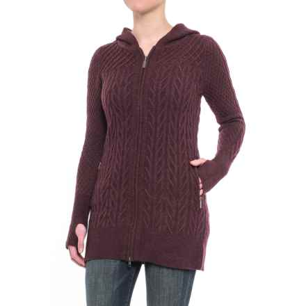 Telluride Clothing Co. Textured Cardigan Sweater - Hooded, Zip Front (For Women) in Raisin Heather - Closeouts