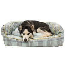 """Telluride Dog Days Plaid Bolster Dog Bed - Extra Large, 36x27x12"""" in Mint/Grey/Yellow - Closeouts"""