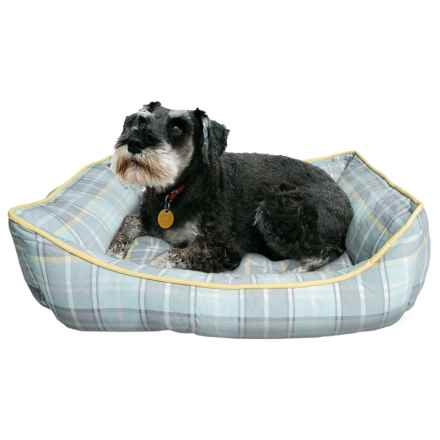 "Telluride Dog Days Plaid Lounger Dog Bed - 28x22"" in Mint/Grey/Yellow - Closeouts"