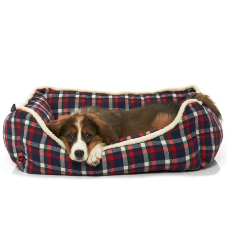 """Telluride Dryer Plaid Reversible Lounger Dog Bed - 28x22"""" in Blue"""