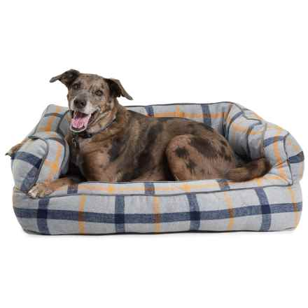 """Telluride Exploded Plaid Bolster Dog Bed - 36x27"""" in Grey - Closeouts"""