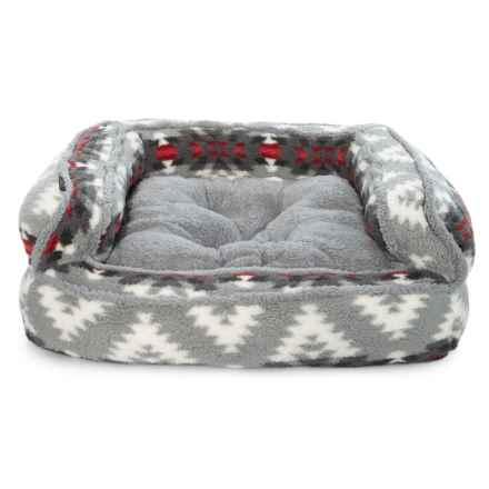 "Telluride Holden Fur Extra-Large Bolster Dog Bed - 36x27"" in Grey Multi - Closeouts"
