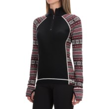 Telluride Jacquard Sweater - Merino Wool, Zip Neck (For Women) in Black/Cherry Red/Cloud/Ivory - Closeouts