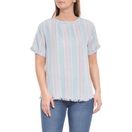 482e17f3dba6 Telluride Medium Wash Stripe Frayed Hem Shirt - Short Sleeve (For Women) in  Medium