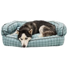 """Telluride Tattersall Bolster Dog Bed - Extra Large, 36x27"""" in Teal - Closeouts"""