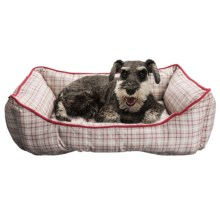 """Telluride Tattersall Lounger Dog Bed - 28x22"""" in Burgandy - Closeouts"""