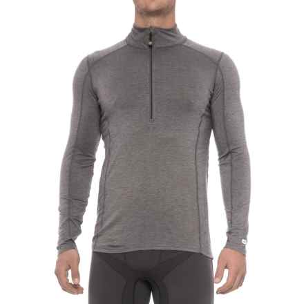 Terramar Ascendor Base Layer Top - UPF 25+, Zip Neck, Long Sleeve (For Men) in Asphalt Melange - Closeouts