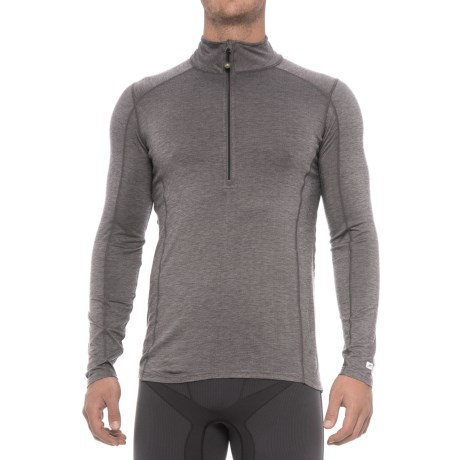 Terramar Ascendor Base Layer Top - UPF 25+, Zip Neck, Long Sleeve (For Men) in Asphalt Melange