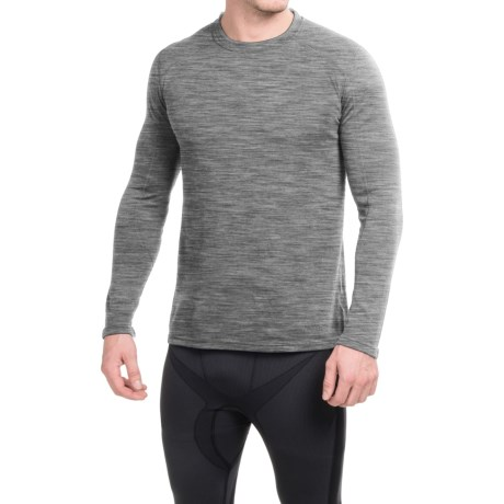 Terramar ClimaSense® Thermawool Crew Base Layer Top - UPF 50+, Long Sleeve (For Men) in Light Heather Grey