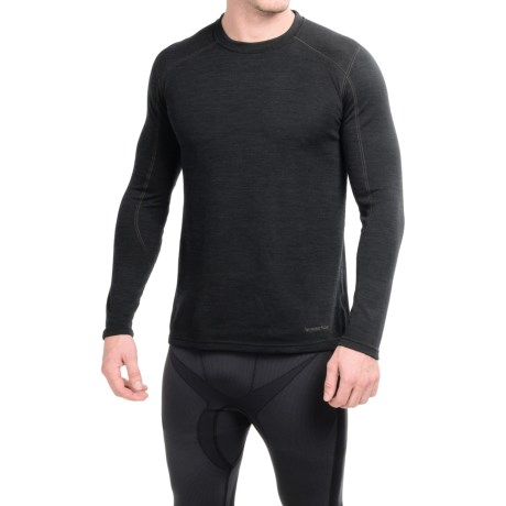 Terramar ClimaSense® Thermawool Crew Base Layer Top - UPF 50+, Long Sleeve (For Men) in Smoke Heather