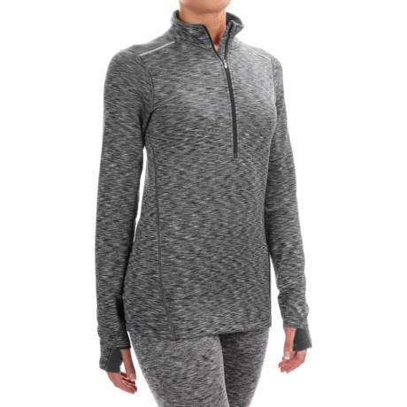 Terramar ClimaSense® Tri-Color Base Layer Top - UPF 50+, Zip Neck, Long Sleeve (For Women)