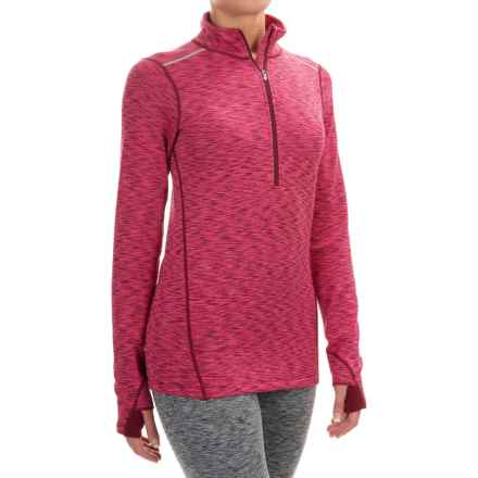 Terramar ClimaSense® Tri-Color Base Layer Top - UPF 50+, Zip Neck, Long Sleeve (For Women) in Merlot - Closeouts