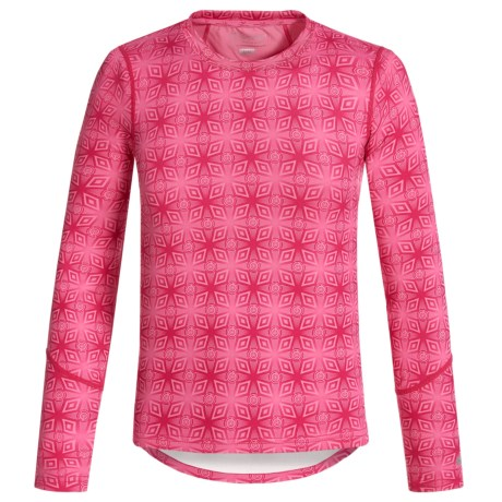 Terramar ClimaSensThermolator CS 2.0 Base Layer Top - UPF 25+, Long Sleeve (For Little and Big Kids) in Pink Mountain Print