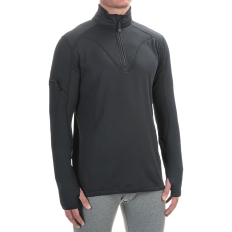Terramar Geo Tek 3.0 Base Layer Top - UPF 50+, Heavyweight, Zip Neck, Long Sleeve (For Men) in Black