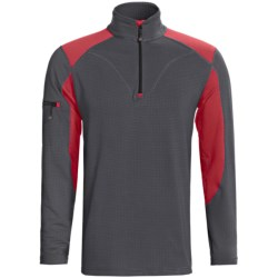 Terramar Geo Tek 3.0 Base Layer Top - UPF 50+, Heavyweight, Zip Neck, Long Sleeve (For Men) in Charcoal/Flame