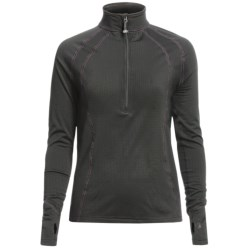 Terramar Grid Fleece Base Layer Top - Zip Neck, Long Sleeve (For Women) in Black/Purple Stitch