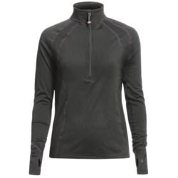 Terramar Grid Fleece Base Layer Top - Zip Neck, Long Sleeve (For Women) in Black