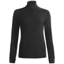 Terramar Grid Fleece Base Layer Top - Zip Neck, Long Sleeve (For Women) in Black - Closeouts