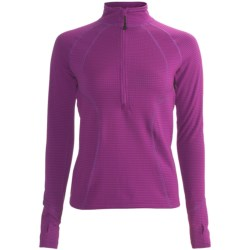 Terramar Grid Fleece Base Layer Top - Zip Neck, Long Sleeve (For Women) in Jazzberry