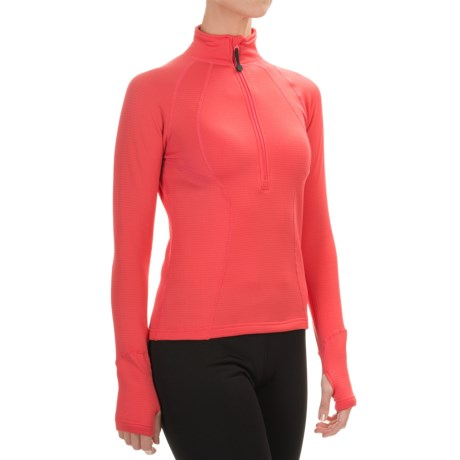 Terramar Grid Fleece Base Layer Top - Zip Neck, Long Sleeve (For Women) in Poppy
