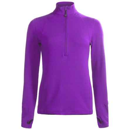 Terramar Grid Fleece Base Layer Top - Zip Neck, Long Sleeve (For Women) in Purple Rain - Closeouts