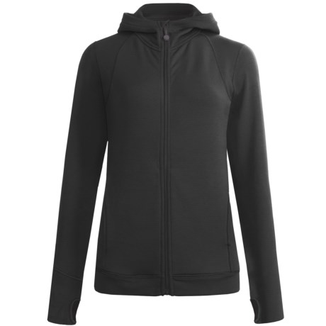Terramar Grid Fleece Hoodie - Zip Front (For Women) in Black