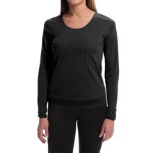 Terramar Jacquard Silk Base Layer Top - Lightweight, Scoop Neck, Long Sleeve (For Women) in Black - Closeouts