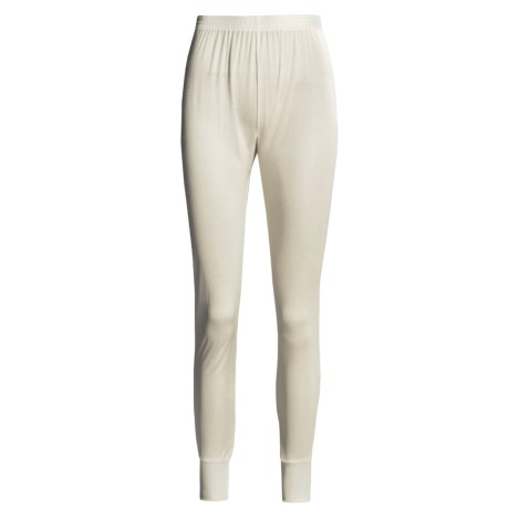 Terramar Long Underwear Bottoms - Silk, Lightweight (For Women) in Natural Pointelle