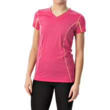 Terramar Microcool V-Neck Shirt - UPF 50+, Short Sleeve (For Women) in Geraiium - Closeouts