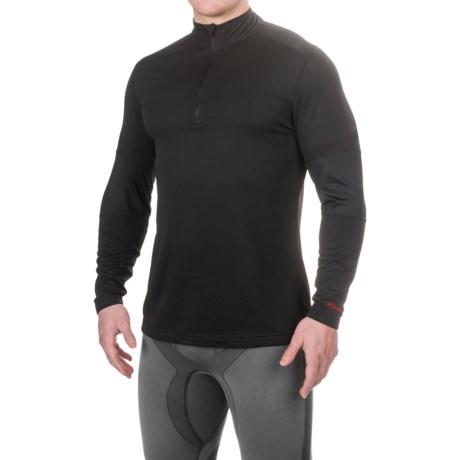 Terramar Military Fleece Base Layer Top - Zip Neck, Long Sleeve (For Men) in Black