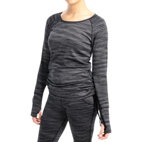 Terramar Pebble Melange CS Base Layer Top - UPF 50+, Reversible (For Women) in Black Melange