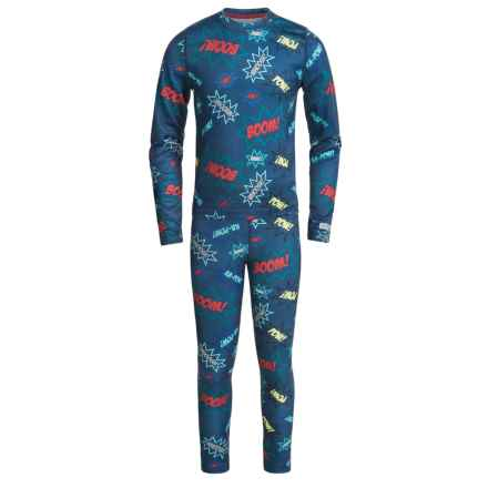 Terramar Power Play 1.0 Base Layer Set - UPF 25+ (For Little and Big Kids) in Ka Pow! Print - Closeouts