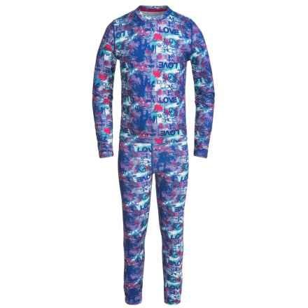Terramar Power Play 1.0 Base Layer Set - UPF 25+ (For Little and Big Kids) in Love Print - Closeouts