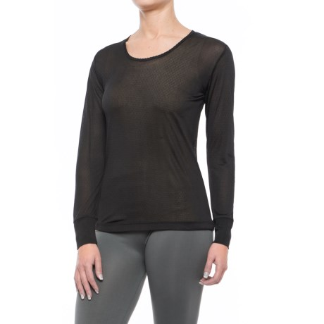 Terramar Sport Silk Long Underwear Top - Lightweight, Long Sleeve (For Women) in Black