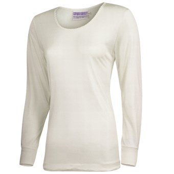 Terramar Sport Silk Long Underwear Top - Lightweight, Long Sleeve (For Women) in Natural Pointelle