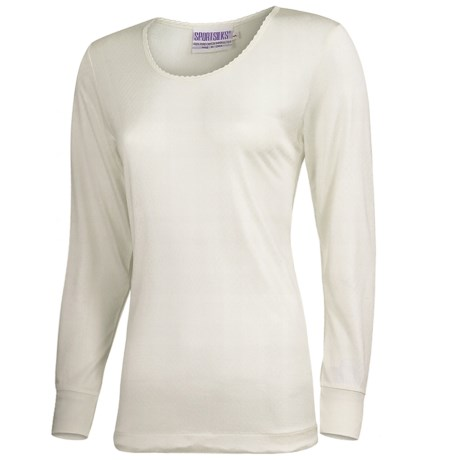 Terramar Sport Silk Long Underwear Top - Lightweight, Long Sleeve (For Women) in Black Pointelle