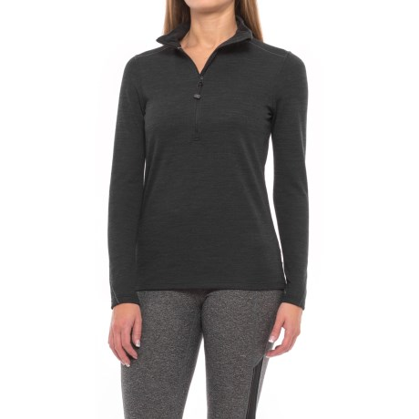 Terramar Thermawool Base Layer Zip Neck Top - UPF 50, Merino Wool Blend, Long Sleeve (For Women) in Smoke Heather