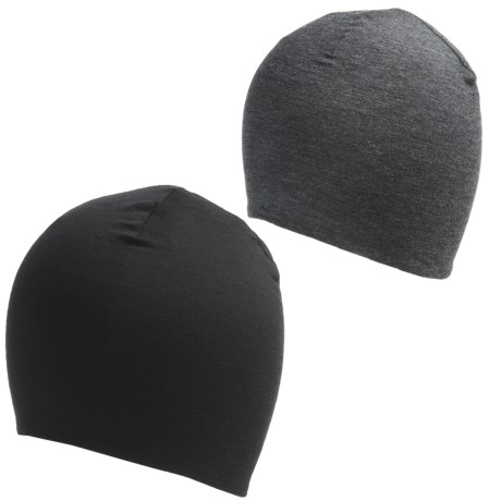 Terramar Thermawool Reversible Beanie Hat - Merino Wool (For Men and Women) in Black
