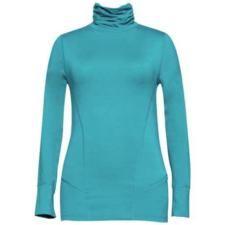 Terramar Thermolator Base Layer Shirred Turtleneck - UPF 25+ (For Women) in Persian Blue
