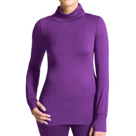 Terramar Thermolator Base Layer Shirred Turtleneck - UPF 25+ (For Women) in Purple Rain - Closeouts