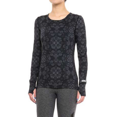 Terramar Thermolator Base Layer Top - UPF 25+, Scoop Neck, Long Sleeve (For Women) in Black Alpine Print