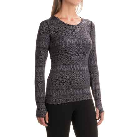 Terramar Thermolator Base Layer Top - UPF 25+, Scoop Neck, Long Sleeve (For Women) in Black Scroll Print - Closeouts