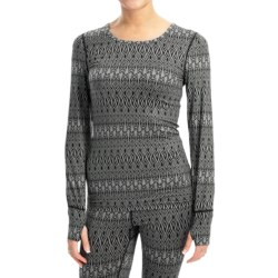 Terramar Thermolator Base Layer Top - UPF 25+, Scoop Neck, Long Sleeve (For Women) in Black Scroll