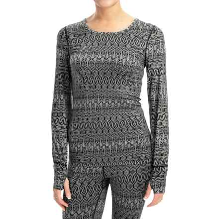 Terramar Thermolator Base Layer Top - UPF 25+, Scoop Neck, Long Sleeve (For Women) in Black Scroll - Closeouts