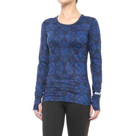 Terramar Thermolator Base Layer Top - UPF 25+, Scoop Neck, Long Sleeve (For Women) in Ink Alpine Print - Closeouts