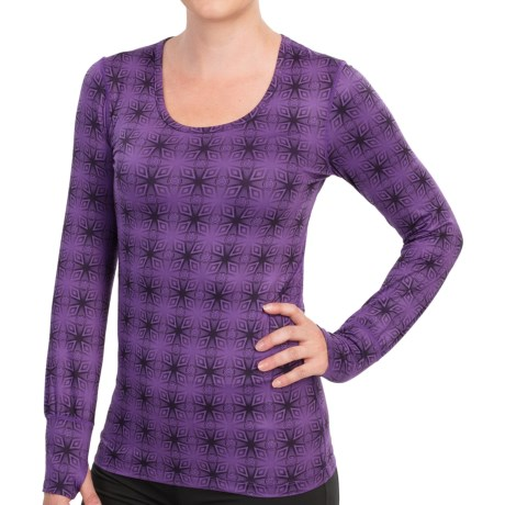 Terramar Thermolator Base Layer Top - UPF 25+, Scoop Neck, Long Sleeve (For Women) in Purple Kalido