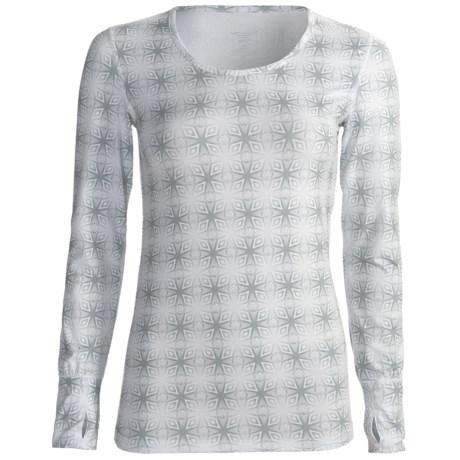 Terramar Thermolator Base Layer Top - UPF 25+, Scoop Neck, Long Sleeve (For Women) in Black Kalido